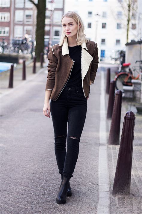 Anita VDH - Subdued Black Ripped Jeans Subdued Faux Shearling Jacket Invito Chelsea Boots ...