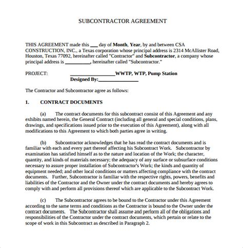 Standard Building Contract Template by 15 Sle Subcontractor Agreements Sle Templates