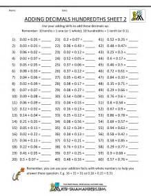 5th Grade Math Worksheets Decimals