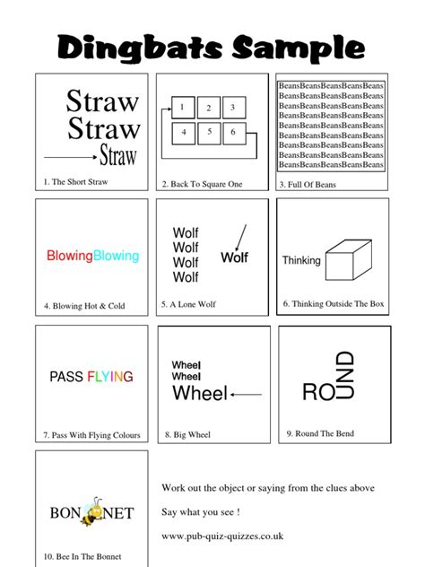 The game has more than 600 levels with crosswords for every taste. Dingbats Sample Answers1