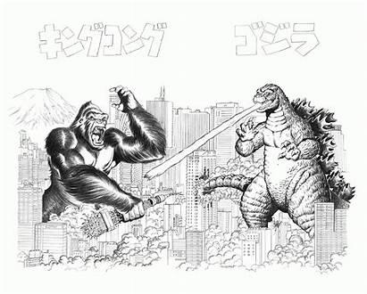 Kong King Godzilla Coloring Dibujos Colorear Vs