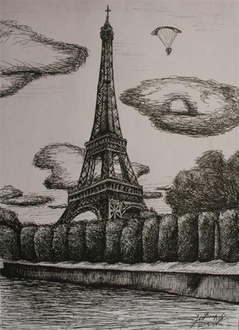 beautiful  detailed eiffel tower drawings