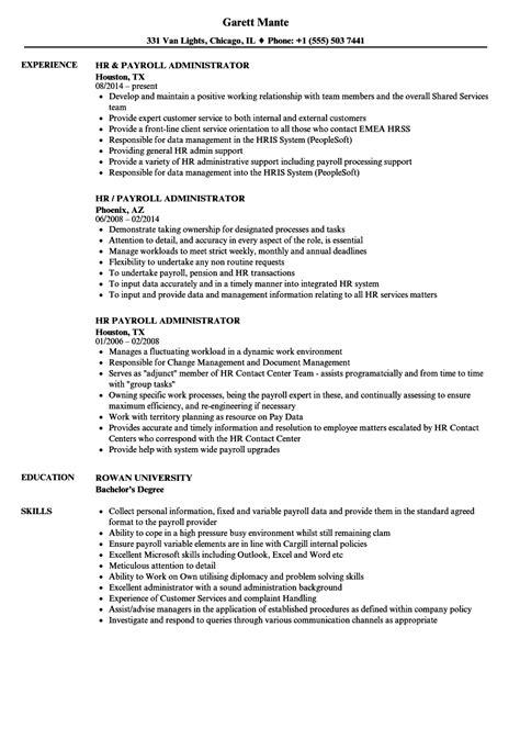Hr Payroll Resume hr administrator resume exle