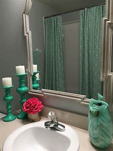 Added, A, Fun, Pop, Of, Pink, To, My, Gray, And, Turquoise, Bathroom