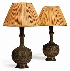 a pair of repousse copper table lamps india late 19th With table lamp kit india