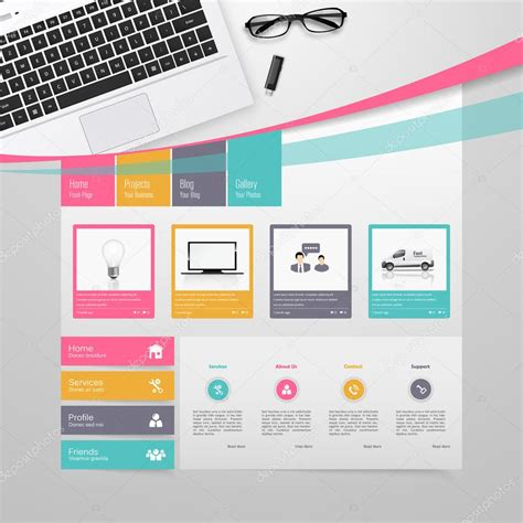 colorful websites colorful website template design vector stock vector