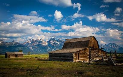 Farm Barn Wallpapers Landscape Mountains Scene Desktop
