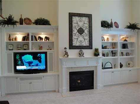 built in tv cabinet built in cabinets around fireplace give special accent to