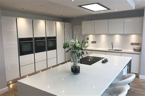 kitchen contemporary cabinets zurfiz doors in ultragloss white with handleless rail ba 3409