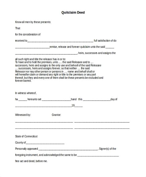 sample quit claim deed forms  ms word