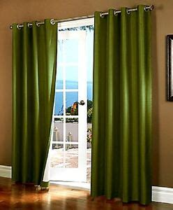 Olive Green Curtains Drapes - 2 olive green panel thermal lined blackout grommet window