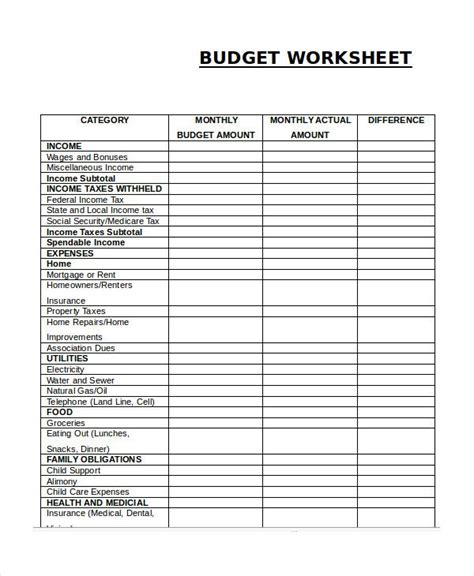 monthly budget worksheets ideas  pinterest