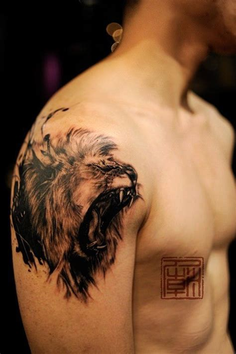 An Amazing Tattoo Of A Lion Roaring In A Sketch Style From