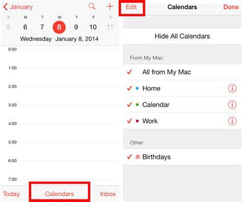 add delete calendars iphone ios
