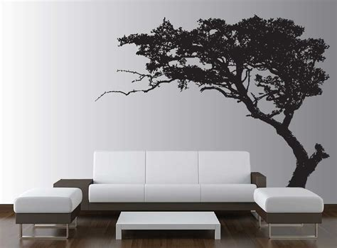 Living Room Wall Decal With Silhouette Of Tree On White