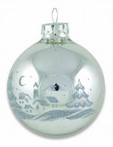Weihnachtskugeln Weiß Silber : edle weihnachtskugeln in silber mit dorflandschaft shop ~ Sanjose-hotels-ca.com Haus und Dekorationen