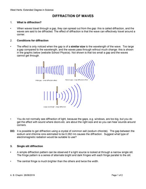 DIFFRACTION OF WAVES lecture notes and quetions - StuDocu