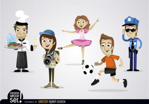 Cartoon Characters With Various Jobs Vector