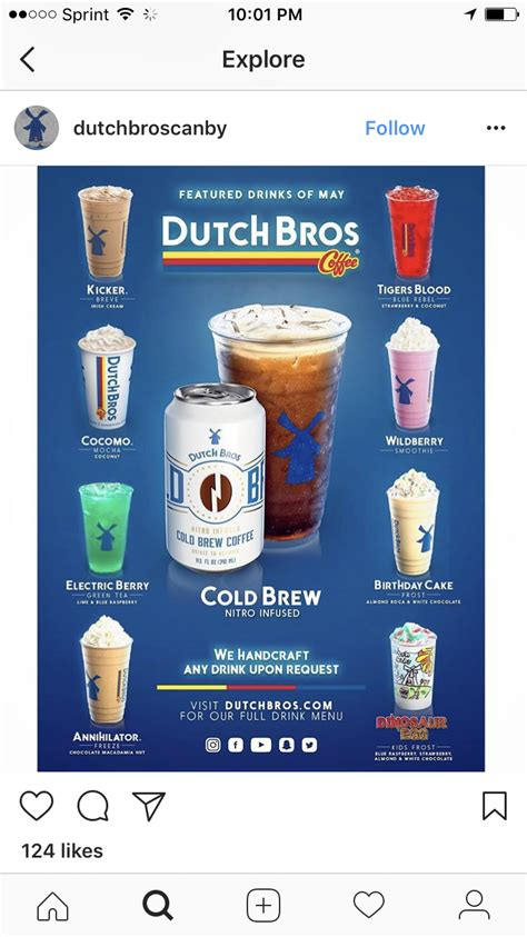 The company serves various coffee drinks and blended milkshake. #dutchbros | Dutch bros drinks, Dutch bros, Dutch bros secret menu