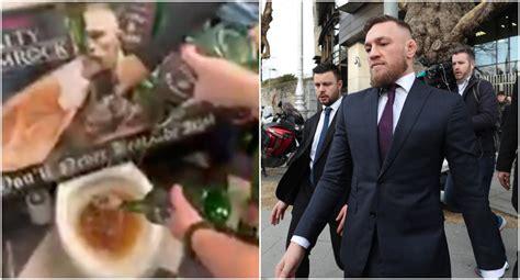 enraged pub owner filmed  pouring conor mcgregor