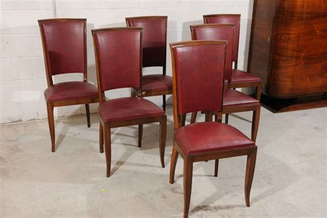set of 6 antique deco burgundy leather dining chairs