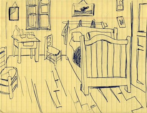 sketch  van goghs bedroom vincent van gogh