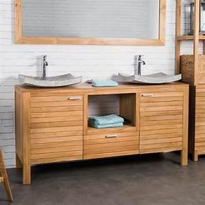 Meuble Double Vasque Suspendu : meuble sous vasque double vasque meuble salle de bain teck courchevel 160cm ~ Melissatoandfro.com Idées de Décoration