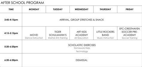 after school curriculum after school program schedule template pictures to pin on