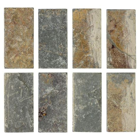 slate home depot jeffrey court tumbled slate 3 in x 6 in x 8 mm floor and wall slate tile 8 pieces pack