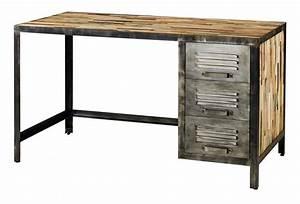 Bureau Bois Metal : bureau d co industrielle en bois et m tal ~ Teatrodelosmanantiales.com Idées de Décoration