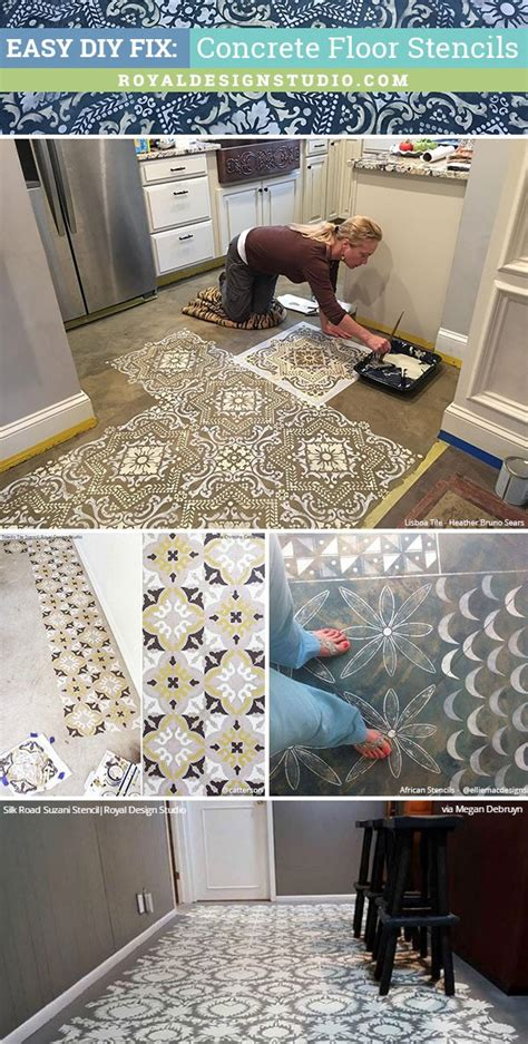 Tile Ideas For Kitchens - easy diy fix concrete floor stencils for painting and remodeling royal design studio stencils