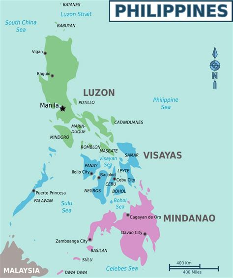 detailed regions map  philippines philippines asia