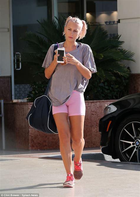 pink shirt mel b 39 s ex nanny lorraine gilles displays legs in shorts