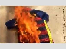 LOOK Barcelona fans burn Neymar's jersey after world