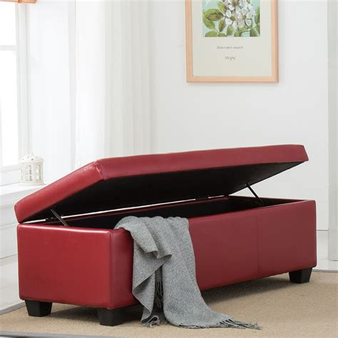 48 Inch Square Ottoman by 48 Quot Faux Leather Solid Rectangular Storage Ottoman