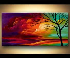 landscape tree painting original abstract contemporary modern by osnat 48 quot x24