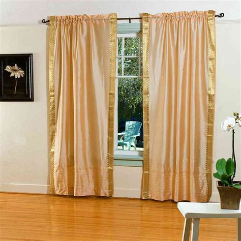 gold rod pocket sheer sari curtain drape panel