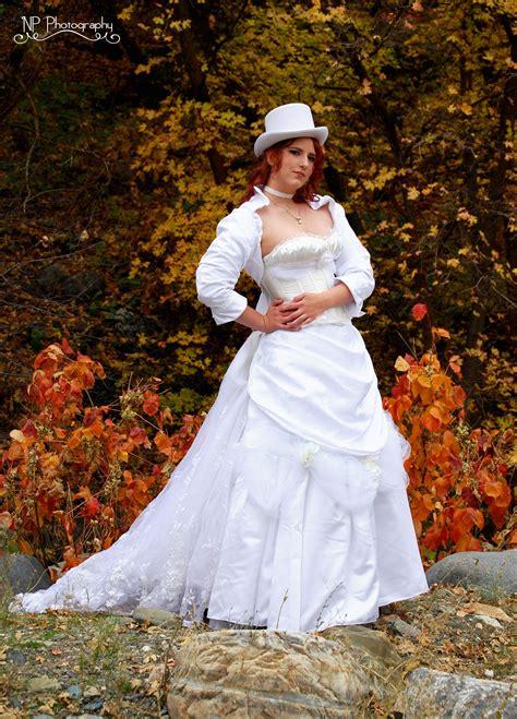 Steampunk Victorian White Wedding Dress Steampunk Wedding