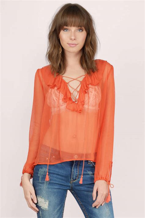 up blouse terracotta blouse orange blouse lace up blouse 26 00