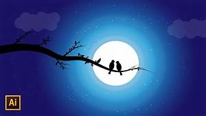 Night Sky Vector Illustration With Silhouette Moonlight