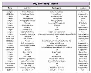 Day of wedding schedule great tips for planning out your for Wedding planning schedule template