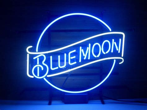 blue moon light neon beer sign bar pub sign real