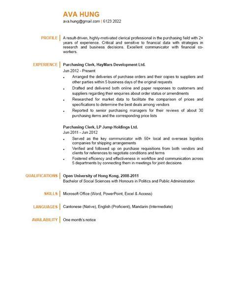 Purchasing Clerk Resume Sle by Purchasing Clerk Cv Ctgoodjobs Powered By Career Times