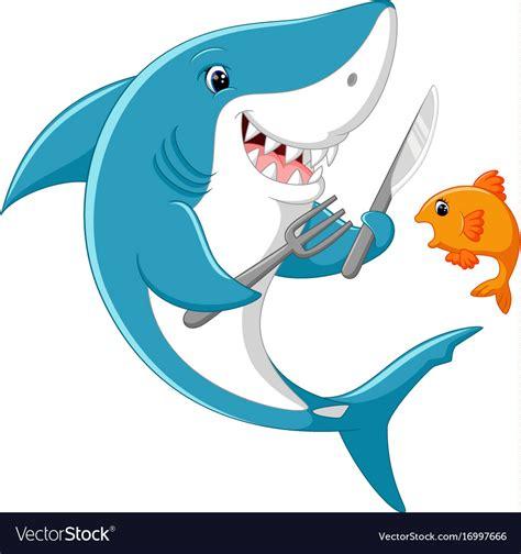 cute shark cartoon ready  eat  fish vector image