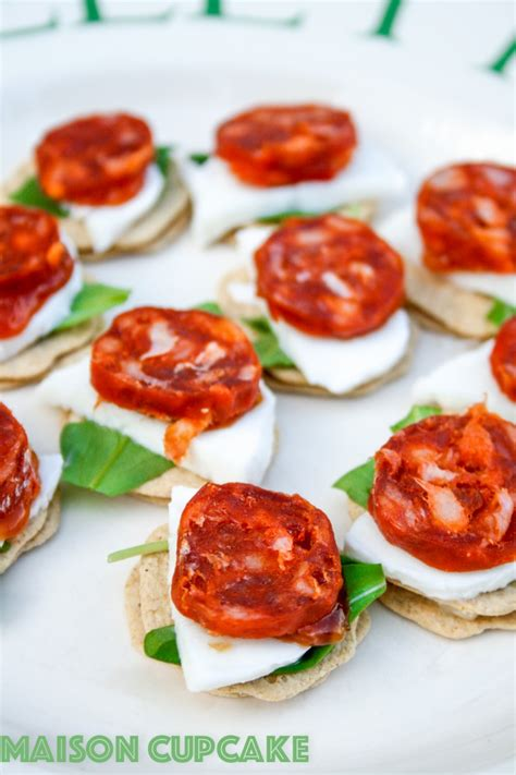 savoury canapes chorizo canapes recipe with mozzarella and rocket