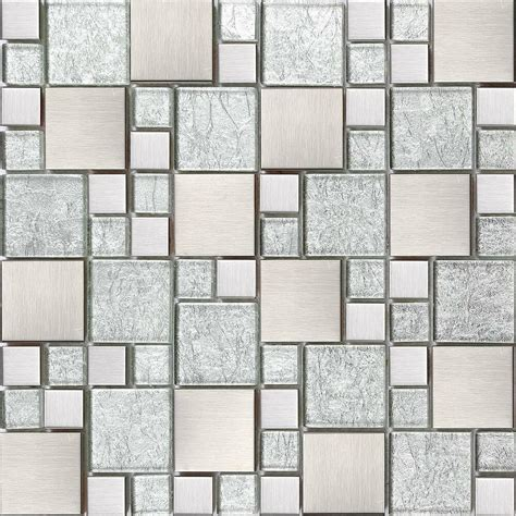 Silver Glass & Brushed Stainless Steel Mosaic Tiles Random