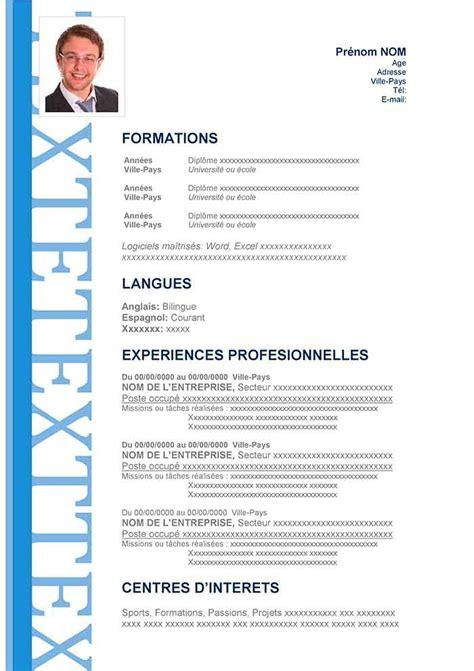 Modèle Cv Franàçais Gratuit by Resume Format Remplir Un Formulaire De Cv
