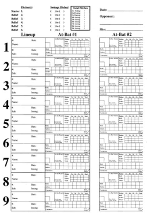pitching chart system refills  pack charts