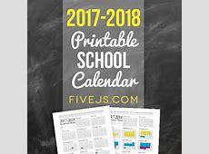 Free Printable School Calendar for 20172018 Five J's