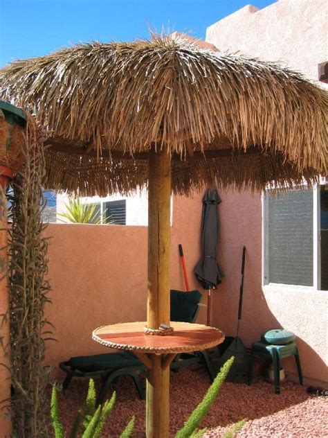 9ft tiki resort palapa thatch umbrella kit 4 pool bbq ebay